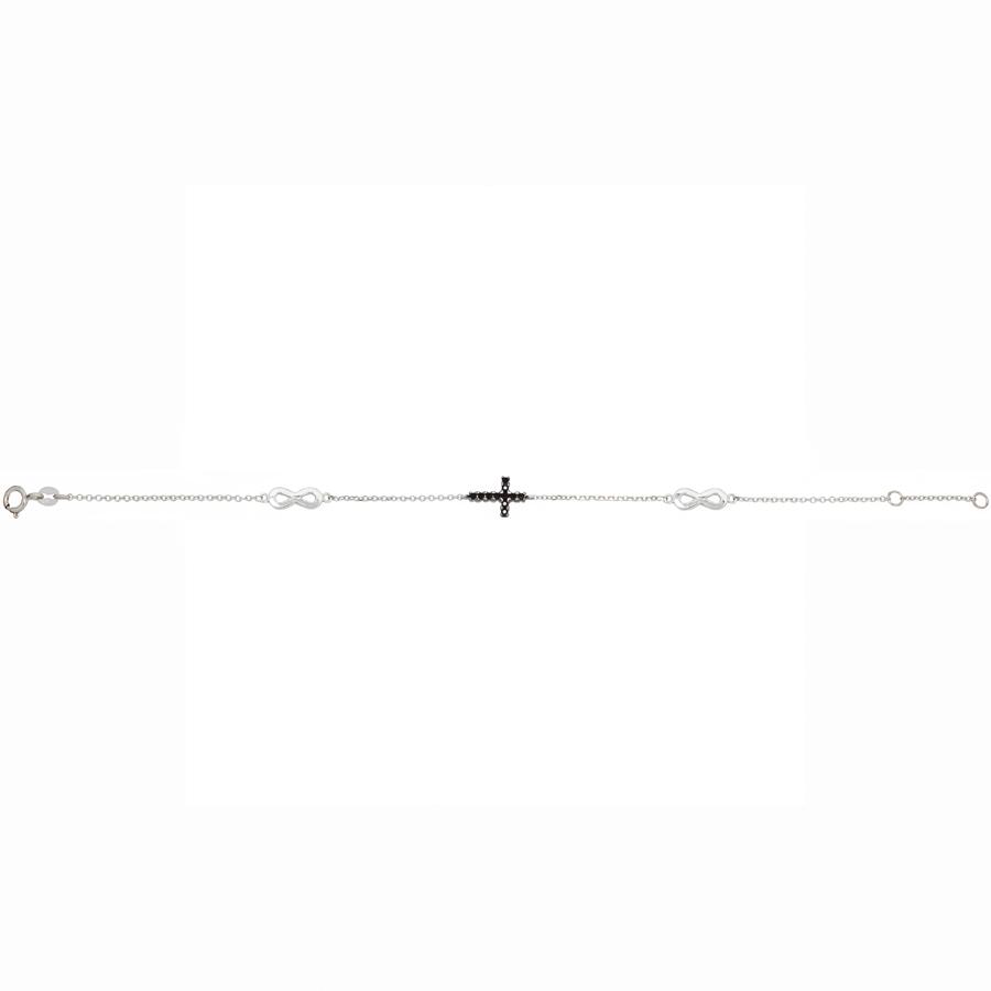 Λευκόχρυσο βραχιόλι σταυρός-άπειρο 14Κ 238a9ecf90b