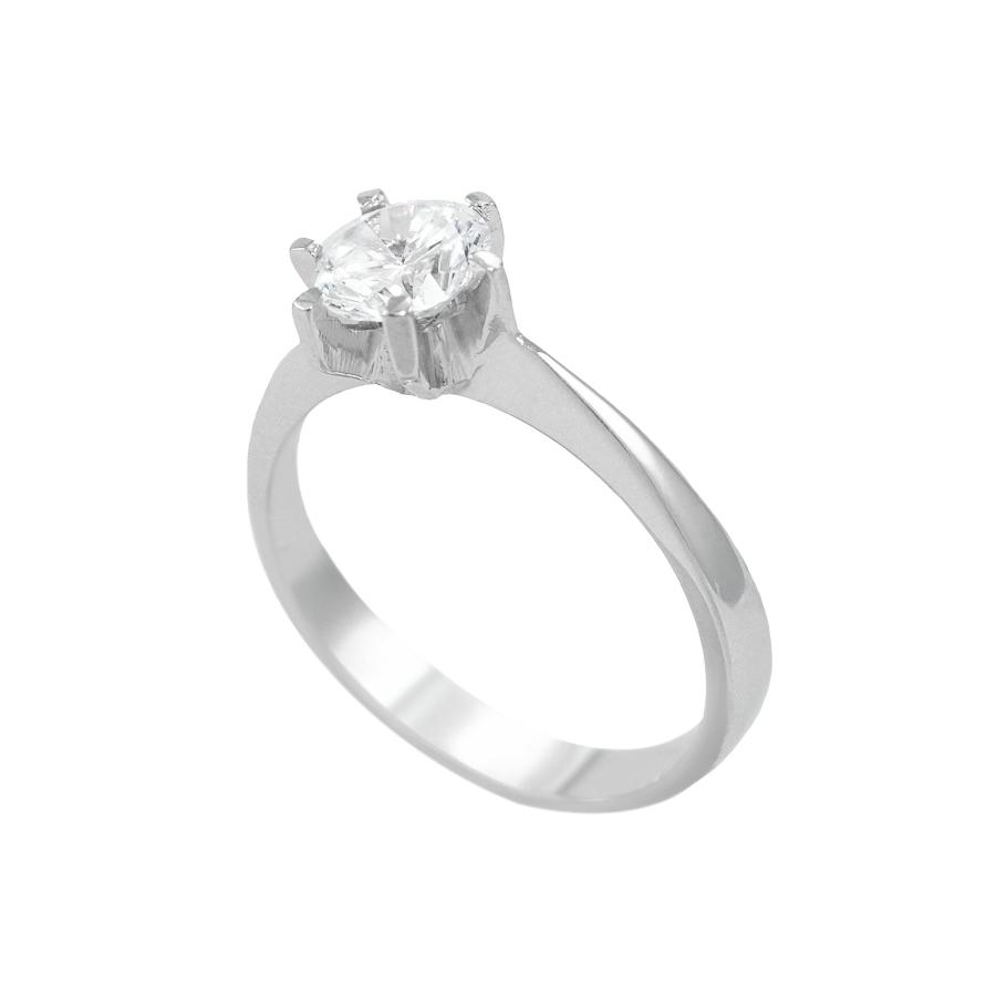 Λευκόχρυσο μονόπετρο δαχτυλίδι 14Κ 68dedbf7612