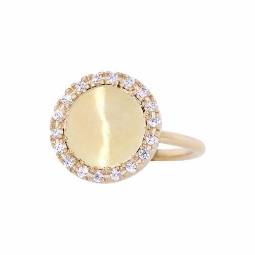 Κίτρινο δαχτυλίδι δίσκος με λουστρέ επιφάνεια από χρυσό 14Κ d55177ff4b6